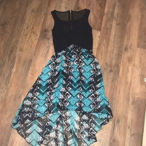 Hi-low turquoise and black dress